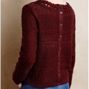 Moth | Anthropologie Maroon Button Back Sweater
